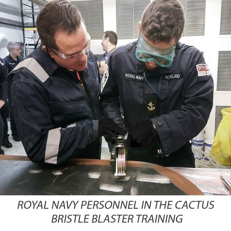 Royal Navy personnek in the Bristle Blasting training